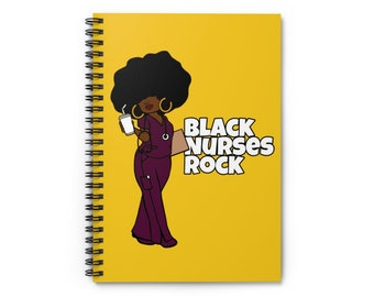 Black African American Nurse RN Spiral Notebook - Ruled Line
