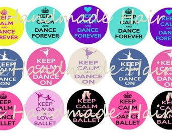 Keep Calm and Dance Bottle Cap images Instant Download