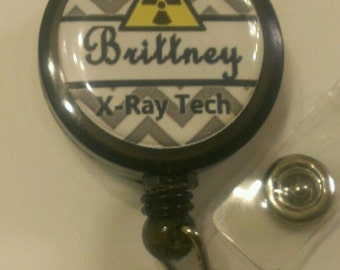 Personalized Xray Tech Retractable Name Badge Holder Reel