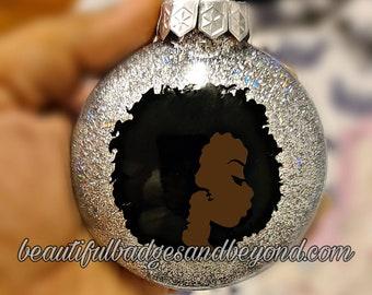 Black  African American Women Christmas Ornament