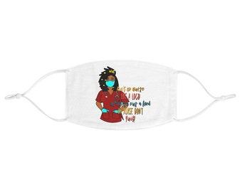 Black African American Nurse Fabric Face Mask
