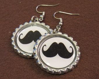 Mustache Bottle Cap Earrings