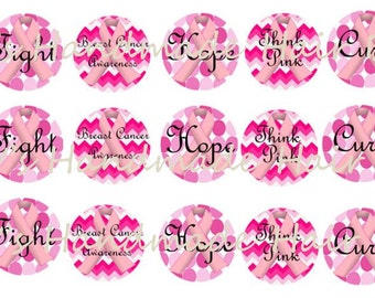 Breast Cancer Awareness Bottle Cap images Instant Download