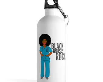 Black African American Nurse Natural Hair Afro Stainless Steel Water Bottle