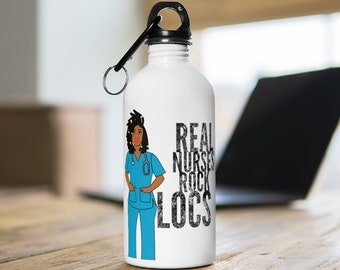 Black African American Nurse Natural Hair Locs Dreadlocks Stainless Steel Water Bottle