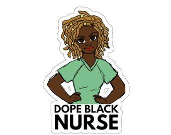 Black African American Locs Nurse Kiss-Cut Stickers