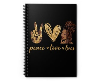 Black African American Woman Locs Dreadlocks Natural Hair Spiral Notebook - Ruled Line