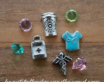 RN Nurse Floating Charm Set of 4