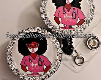 Breast Cancer Awareness Black, African  American, Nurse, Natural Hair, Locs, Scrubs, Retractable Badge Holder, reel
