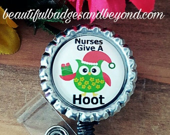 Christmas Nurse Owl Hoot Retractable Name Badge Holder Reel #2