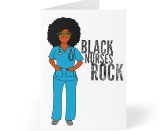 Black African American Nurse Greeting Cards (8 pcs)