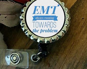 EMS EMT Paramedic Retractable Name Badge Holder Reel