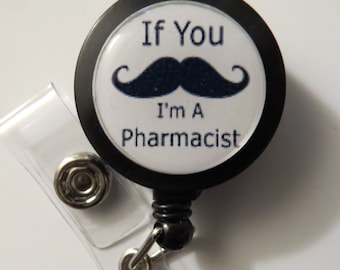 Mustache Pharmacist Retractable Name Badge Holder Reel
