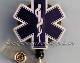 Star of Life Paramedic Retractable Name Badge Holder Reel