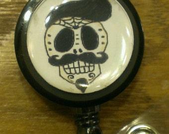 Mustache Sugar Skull Day of the Dead Retractable Name Badge Holder Reel