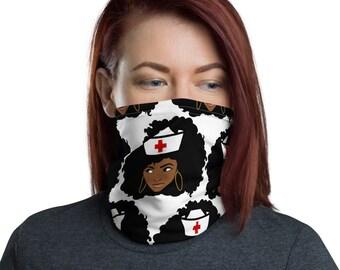 Black African American Nurse Neck Gaiter