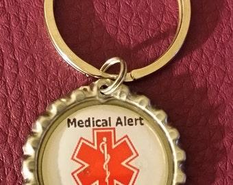 Heart Disease Medical Alert Bottle Cap Keychain