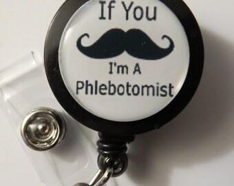 Mustache Phlebotomist Retractable Name Badge Holder Reel