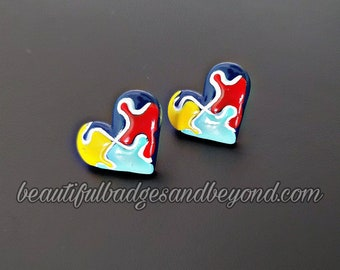 Heart Autism  Awareness Earrings