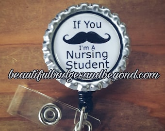 Mustache Nursing Student Retractable Name Badge Holder Reel