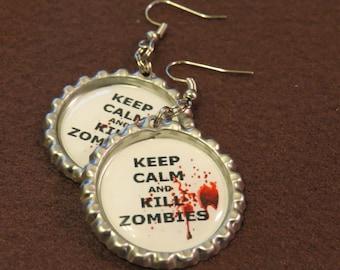 Zombie Bottle Cap Earrings