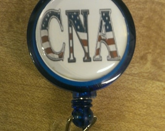 American Flag CNA Nurse Retractable Name Badge Holder Reel