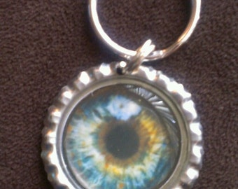 Eye Bottle Cap Keychain