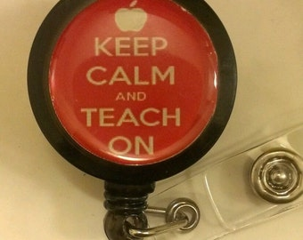 Keep Calm Teacher Retractable Badge Holder