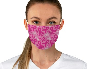 Breast Cancer Awareness Pink Ribbon Fabric Face Mask