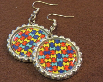 Autism Awarness Bottle Cap Earrings
