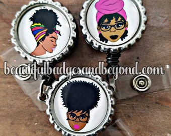 Black, African  American, woman, Natural Hair, retractable reels and pins