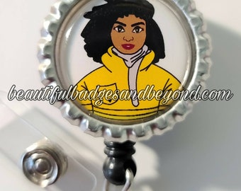 Black, African  American, Firefighter, Natural Hair, Locs, Scrubs, Retractable Badge Holder, reel
