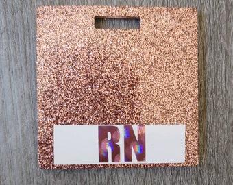 Rose Gold Glitter Nurse Badge Buddy