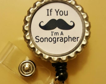 Mustache Sonographer Retractable Name Badge Holder Reel