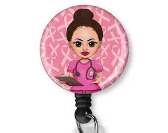 Breast Cancer Awareness Ribbon badge reel