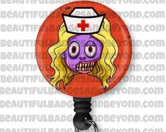 Halloween Zombie Nurse RN Retractable Badge Holder