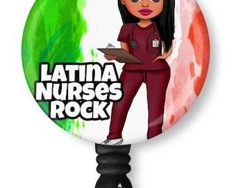 Latina, Mexican, Nurse, Scrubs, Retractable Badge Holder, reel