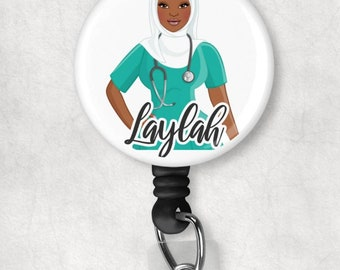 Personalized Custom Black, African  American, Muslim, Hijab, Nurse, Scrubs, Retractable Badge Holder, reel