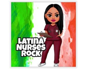 Latina Nurse Kiss-Cut Stickers