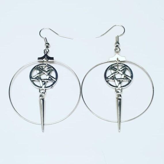 Inverted pentagram spike hoop earrings