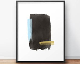 Watercolor Painting – Abstract Art – Modern Watercolor Print Art - Printable Art - Black Blue Yellow Art Print- Wall Art - Home Decor