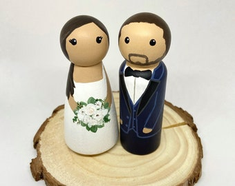 CUSTOMIZABLE Personalized Wedding Cake Topper Peg Dolls - Minimalist classic rustic wedding decor, 5th wooden anniversary gift Hand Painted