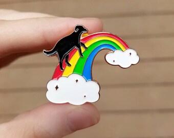 Dog Rainbow Bridge Enamel Pin - Dog Pet Loss - Stocking Stuffer Pet Lover Gift Dog Silhouette