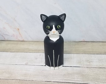 CUSTOMIZABLE Cat Peg Doll - Cat Lover Pet Portrait Pet Memorial Pet Loss Rainbow Bridge Personalized Furbaby Kitten Kitty Meow Home Decor