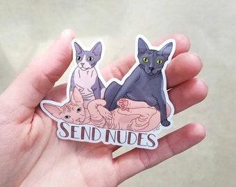 Send Nudes Sphynx Cat Nakey Cat Sticker Waterproof Hairless Sphinx Bambino Laptop Decal