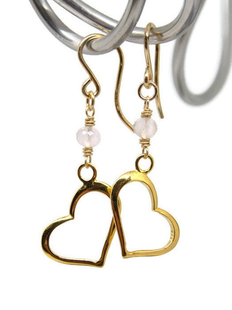 Rose Quartz Open Heart Earrings Heart Earrings Gift for Her April Birthstone Jewelry Gemstone Earrings Gold Earrings