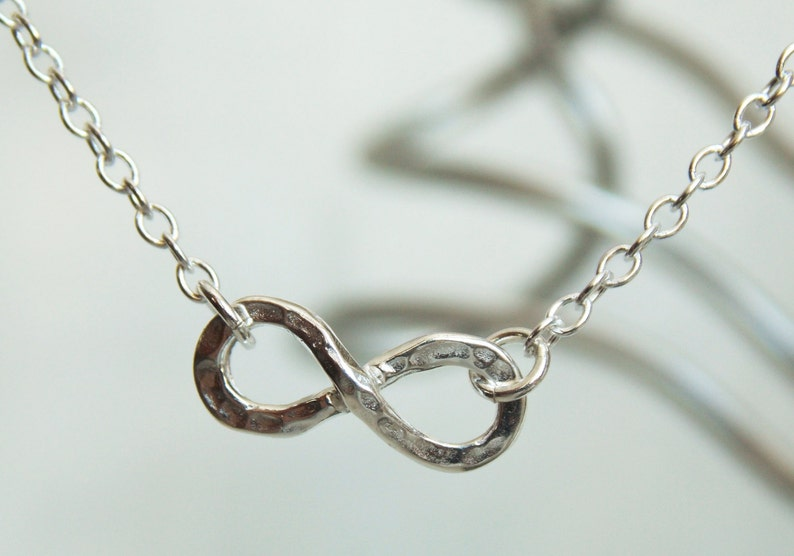 Stacking Necklace Handmade Necklace Hammered Silver Infinity Necklace Trending Infinity Necklace Minimalist Necklace Layering Necklace