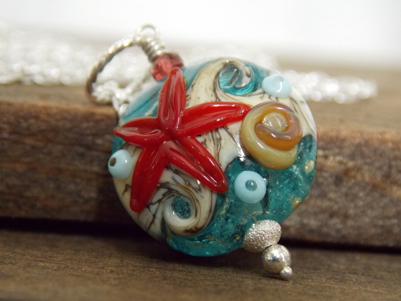 Luxe Glass Necklace Summer Necklace Modern Artisan Necklace Starfish Beach Necklace Artisan Beach Necklace