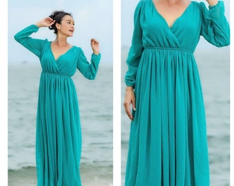 a3480895cad4 Bridemaids Teal Aqua turquoise green chiffon long sleeve v neck long maxi  dress All size