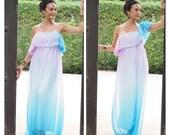 4 in 1 Gradient chiffon blue purple dress long maxi ,Halter ,Off shoulder,One shoulder dress , Short sleeve dress all size